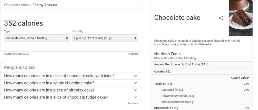 Answer engine featured snippet chocolate cake